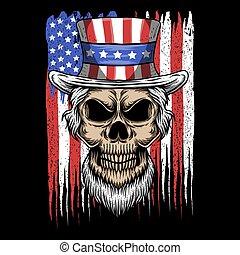 sam, eua, ilustração, bandeira, vetorial, tio, cranio