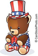 sam, oncle, dessin animé, ours, teddy