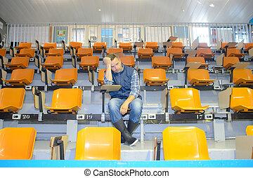 sam, posiedzenie, człowiek, audytorium