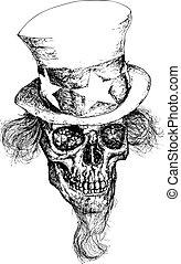 sam, zio, cranio, illustrazione