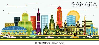 samara, azul, ciudad, rusia, sky., los edificios colorean,...