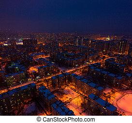 Big city at night, panorama on buildings of Samara aerial view