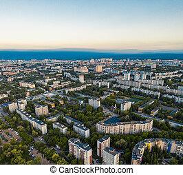 City Samara, Russia, panel building aerial view