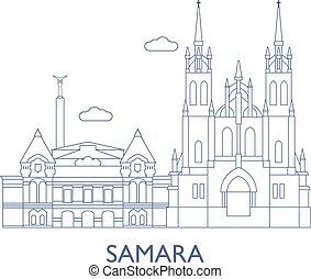 samara, ciudad, edificios, más, famoso