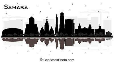 samara, ciudad, silueta, rusia, white., edificios, contorno,...