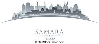 samara, russia, fondo, orizzonte, città, silhouette, bianco
