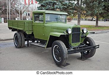 "SAMARA, RUSSIA - NOVEMBER 3: Soviet truck ""GAZ-AA"" on the..."