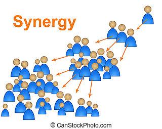 samarbejd, betyder, arbejde, sammen, synergi, hold