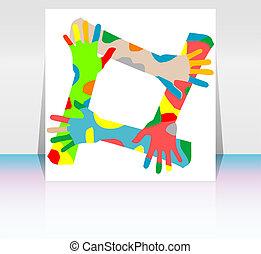 samarbejde, afdækket, flyer, konstruktion, hænder, eller, ...