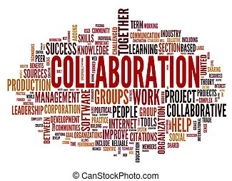 samarbete, begrepp, in, ord, etikett, moln