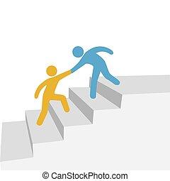 samarbete, framsteg, vän, hjälp