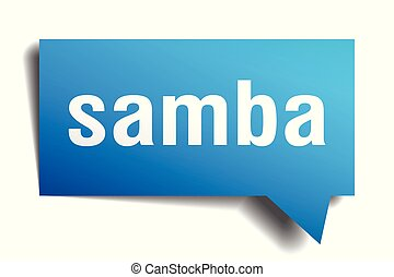 samba blue 3d speech bubble