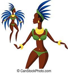 samba, carnaval, brasileño, ilustración, dansing, niña