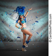 Samba dancer - Happy samba dancer with brilliant blue ...