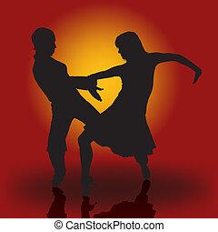 Samba Dancers - Detailed Colored Illustration, Vector