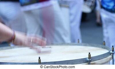 Samba Drums - Close up shot of drummer performing on a big...