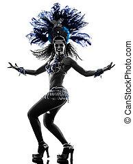 samba, frau, tänzer, silhouette