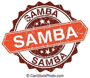 samba, grunge, francobollo, arancia, bianco, rotondo