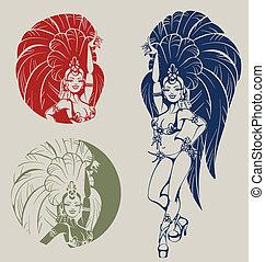 Samba queen dancer - silhouettes of a attractive samba...