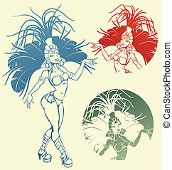 Samba queen dancer - silhouettes of a attractive samba ...