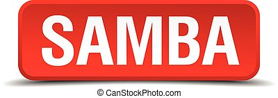 Samba red 3d square button isolated on white