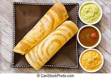 sambar, chutney, dosa, indio, desayuno, sur