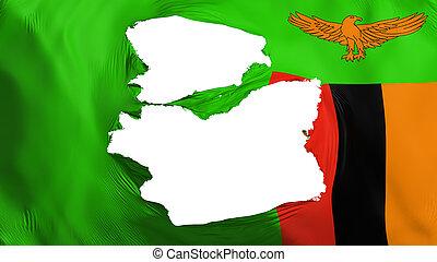 sambia- markierungsfahne, zerfetzt