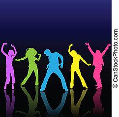 samczyk i samica, taniec, barwny, sylwetka, z, odbicia, na, taniec, floor.