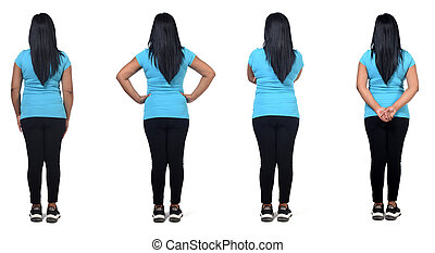 same back view of a woman in white background,