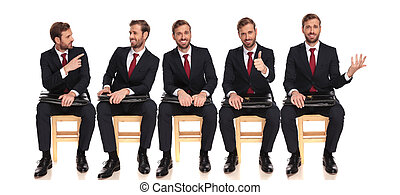 same businessman having fun with himself while waiting