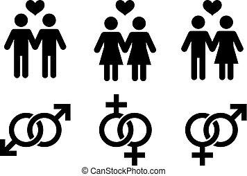 Same- couples, flat icon