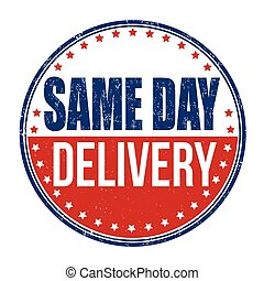 Same day delivery stamp - Same day delivery grunge rubber...