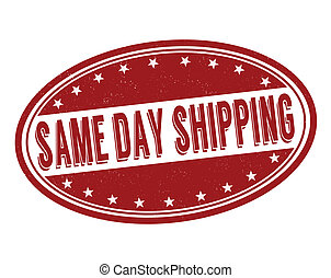 Same day shipping stamp - Same day shipping grunge rubber...