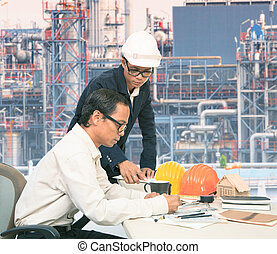 same model but acting for two peopl - two engineer working...