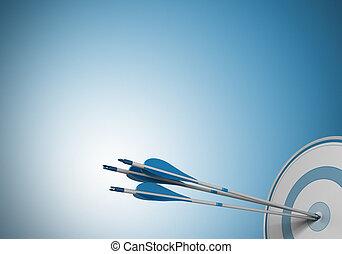 same objective, target arrow - three arrows hitting the ...