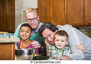 Same Sex Couple with Their Children - Gay with their kids in...