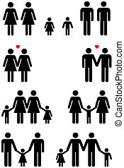 Family icons of same sex couples in black and white graphic style.