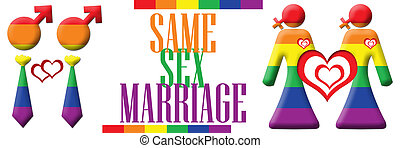 Same Sex Marriage Banner - Gay and lesbian symbols in...