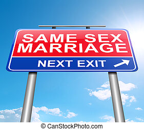 Same sex marriage concept. - 3d Illustration depicting a...