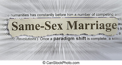 same sex marriage concept with text radial blurr
