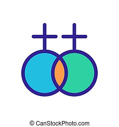 same sex marriage icon vector. A thin line sign. Isolated contour symbol illustration