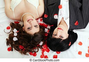 same-sex, sommet, marriage., vue, couple, heureux