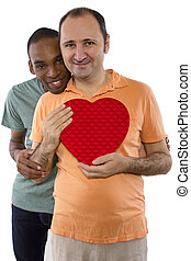 Same Sex Valentines Celebration - Younger black male with...