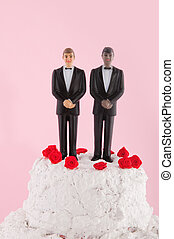 same sex wedding cake - Wedding cake with red roses and gay...