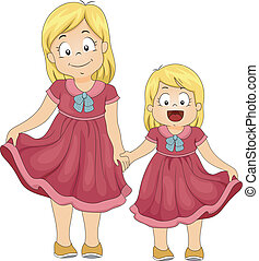 Same Shirt Siblings - Illustration of Female Siblings...