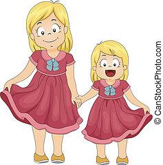 Same Shirt Siblings - Illustration of Female Siblings...