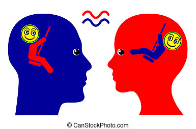 Concept sign of mutual sympathy and sense of community between man and woman