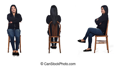 same woman sitting on a chair on white background