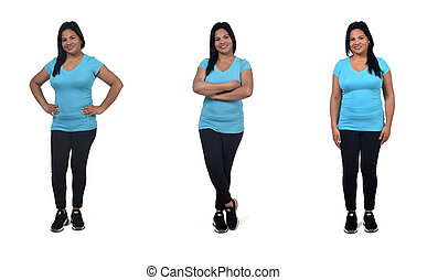 same woman with sportswear on white background,