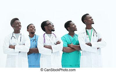 samen., artsen, anders, staand, groep, witte , vrijstaand